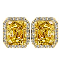 Big Square yellow Crystal Stud Earrings for Women Korean Fas...