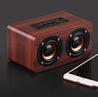 W5 خشبي بلوتوث المتكلم 10 واط 1500 مللي أمبير بطارية قوية باس مضخم الصوت مشغل mp3 aux الصوت tf بطاقة usb اللعب يدوي المتحدثون الخشب