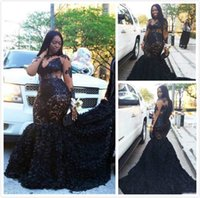 African Plus Size Prom Dresses Long Appliques Sheer Neckline...