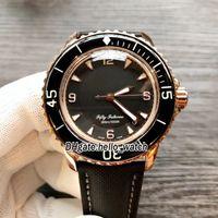 Cincuenta Fathoms 50 Fathoms 5015-3630-52 Japón MIYOTA 8215 Dial negro automático Reloj de hombre Rosa Caja de oro Correa de cuero Sport Gents Gents Relojes