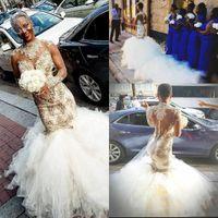 2018 lujo árabe de cuello alto vestidos de novia de encaje con tren de la catedral de manga larga con cuentas apliques falda cansada sirena iglesia vestido de novia