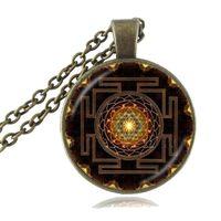 Budista Sri Yantra Pingente Mandala Colar Flores Geometria Sagrada Chakra Jóias Espiritual Yoga Camisola Cadeia Colar de Presente para Ela