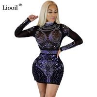 Liooil 여성 크리스탈 드레스 긴 소매 Bodycon 메쉬 드레스를 통해 볼 블랙 와인 레드 살구 다이아몬드 섹시 클럽 파티 드레스