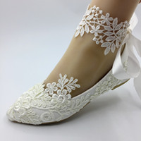 Handmade white lace wedding FLAT shoes women Flat Bride shoe...