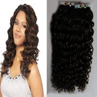 # 2 Dark Brown marrón rizado rizado cinta en extensiones de cabello humano 100g mongol rizado rizado pelo 40 unids / set pelo de trama de la piel