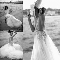 Liz Martinez 2019 Beach A Line Wedding Dresses V Neck Beaded...