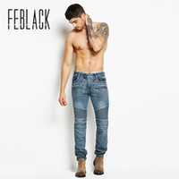 FEBLACK Motorcycle Style Fashion Full Length Solid Skinny Je...