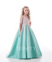 Beauty Green Blue Satin Jewel Applique Flower Girl Dresses G...