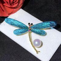Broches 100% d'eau douce émail libellule libellule pour les femmes 8-9mm perle broches broches cristal insectes broches cadeau 12 pcs / lot