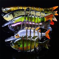 Mutil - 관절 Musky 낚시 유혹 세트 6pc / lot 3D 눈 인공 현실적인 생생한 분할 테일 물고기 미끼 세그먼트 Crankbaits