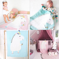 2018 Cartoon New Toddler Infant Newborn Baby Blanket Pram Cot Bed Moses Basket Crib Unicorn Knit Blanket Cartoon Sleeping Bag