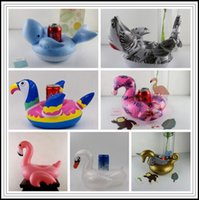 7 Stili Gonfiabili Fenicotteri Whale Unicorn Swan Squalo Bere Holder Float Cup Holder Nuoto Anello Materasso Galleggianti Galleggianti