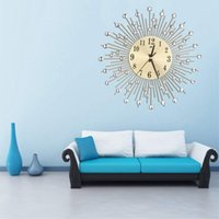 Duvar Saati Elmas Dekoratif Yuvarlak Saat Metal Oturma Odası Dekor Sessiz Kuvars Saatler Modern Minimalist Saatler (Altın)