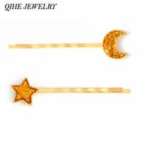 QIHE JEWELRY Horquilla amarilla rosa azul brillante Moon Star hairwear broches clip de pelo horquillas Accesorios para mujeres niña