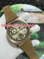 Fashion men' s watch rose gold case brown leather strap ...