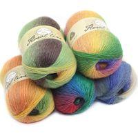 100g / ball 100% fils de Cachemire à tricoter Rainbow Line Fantaisie Melange Fils Peigné Couture 20 couleurs de haute qualité