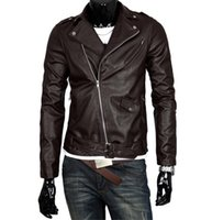 Men Fashion PU Leather Motorcycle Jacket Lapel Neck British ...