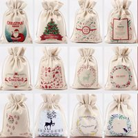 Christmas Gift Bag Pure Cotton Canvas Drawstring Sock Bags W...
