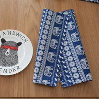 Unique Elephant Bohemian Style Placemat Dark Blue and White ...