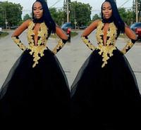 2019 preto e ouro vestidos de baile de tule saia Africano Sexy aberto pescoço até o chão formais vestidos de noite plus size