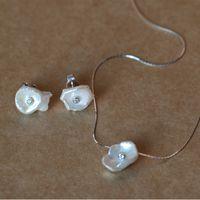 2018 der neueste stil Unregelmäßige reine perlenkette Der echte 925 Sterling Silber Kette Perle Set Ohrring Und Halskette Schmuck Set Feine Juwel