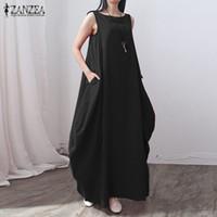 Casual Kleider Zanzea Mode 2021 Sommer Frauen Baumwolle Leinenkleid Lose Lange Maxi Party Solide Vestidos Plus Größe S-5XL