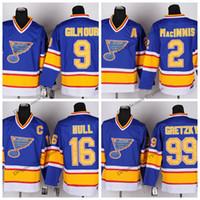 Vintage Louis Blues Hokey Formalar Mens ucuz 9 Doug Gilmour 2 Al MacInnis 16 Brett Hull 99 Wayne Gretzky Dikişli Hokey Gömlek