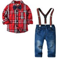 Дети мальчик джентльменский набор одежды поворотный воротник плед печать рубашка + брюки 100% хлопок мальчик дети весна осень одежда две части наборов
