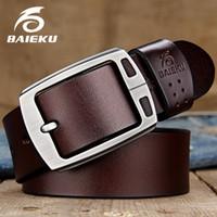 Cinturones de cuero genuino BAIEKU Cinturón de hebilla de alfiler de hombre Correa de hombre vintage de alta calidad para jaens Longitud de 105cm-140cm