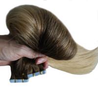 T2 / 613 Couleur blonde cheveux brésiliens Bande Dans Les Extensions de Cheveux Humains 100G peau trame vierge Vierge 40Pièce Ombre Bande Dans Les Extensions de Cheveux Humains