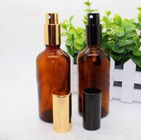 Yüksek Kaliteli 280pcs / lot 100ML Amber Doldurulabilir Cam Parfüm Kozmetik Ambalaj için Şişe Esansiyel Yağ Şişeleri Spray boşaltın