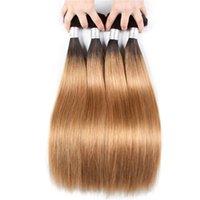 2 Tone Ombre Бразильские прямые плакаты волос сплетены 1B / 27 нерехие наращивание человеческих волос 3 или 4 связки человеческих наращивания волос Оммре Weaves