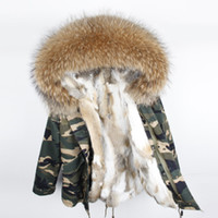 inverno neve cappotti MAOMAOKONG Marca multicolore felpa con cappuccio di pelliccia di procione multicolore pelliccia di coniglio foderato mimetico guscio mini parka USA Germania