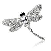 الأزياء كريستال حجر الراين بروش دبوس الصدار إبزيم اليعسوب سبيكة الحيوان للنساء الفتاة هدية مجوهرات الخطبة