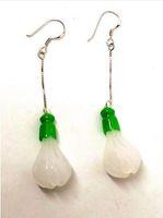 Koraba Fine Jewelry Natural White Magnolia Jade Pendientes con S925 regalos de plata Envío Gratis