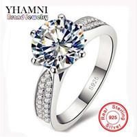 Perda la promozione dei soldi al 100% argento sterling 925 anelli gioielli 8 millimetri 2 CZ Diamant zircone Anelli di nozze per le donne YH012