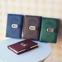 Papelaria Criativa Notebook Retro senha Livro Com Bloqueio Diário Tópico Instalada Supplies Notepad Negócios Livros de escola escritório