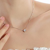 Newly Trendy Inlaid Zircon Individuality Clavicle Silver Pla...