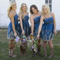 Boho Country Style Bridesmaid Dresses Sexy Spaghetti Straps ...