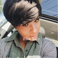 Short Bob Wigs For Black Women 8A Machine Made None Lace Hum...