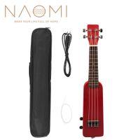 """NAOMI 21 """"Okoume Electric Ukulele Ukelele Uke Kit W / Gig Bag Cavo audio da 3,5 mm Silent Electric Ukulele Soprano Uke-Red"""