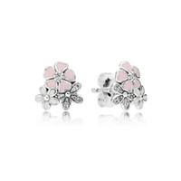 Carino rosa smalto fiore 925 sterling silver orecchino per le donne fit pandora reale gioielli in argento orecchini regalo
