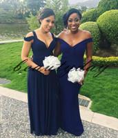 2019 Africaine Robes De Demoiselle D'honneur Pour La Marine Nigériane Bleu Demoiselle D'honneur Robes Formelle Robe De Fête De Mariage D'invité Robe robes de fiesta