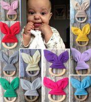 20PCS طفل الرضيع INS حلقات التسنين التسنين الدائري الخشب الطبيعي دائرة بلون أرنب الأذن الأسنان القطن ممارسة اللعب اليدوية الدائري YE013