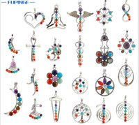 Naturale 7 perline di pietra colorate reiki chakra punto di guarigione punto fascino pendente per collana di cristallo gioielli 23 stili per scegliere