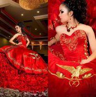 Vintage Sevgiliye Kırmızı Altın Nakış Balo Quinceanera elbise Saten Ruffles Lace Up Kat Uzunluk Vestido De Festa Tatlı 16 Elbise