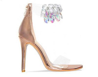 Rose Gold Nude Leather High Heels Diamond Sandals Transparent PVC Tobillo Correa Mujeres Bombas Clear Crystal Thin Heels Mujeres Zapatos
