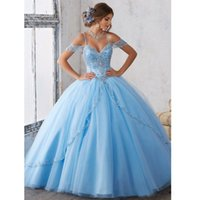 Sexy Off Shoulder Blue Ball Gown Quinceanera Dresses Appliqu...