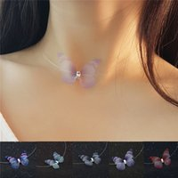 New Crystal Colorful 3D Yarn Butterfly Chokers Necklaces Inv...