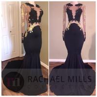 블랙 레이스 인어 댄스 파티 드레스는 얇은 목 긴 소매 아플리케 환상을 통해보기로 돌아 가기 공식 파티 드레스 정장 이브닝 가운